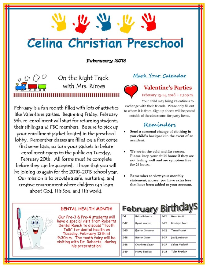 February Newsletter 2018 pg 1